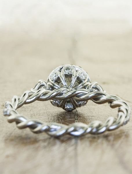 twisted rope band, round diamond engagement ring