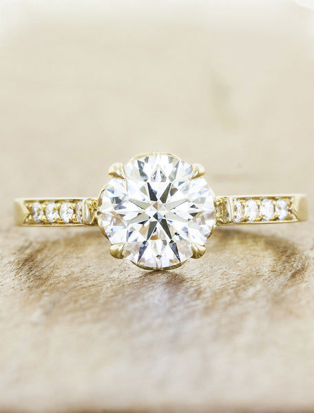 Vintage inspired collection caption:1.20ct. Round Diamond 14k Yellow Gold