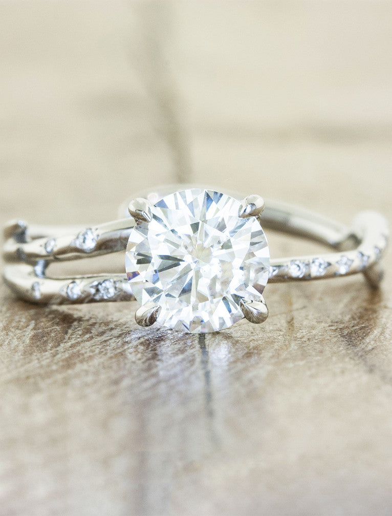 feminine split shank diamond engagement ring with diamond accents