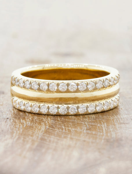 6mm Double DiamondWedding Band caption: 6mm 14k Yellow Gold