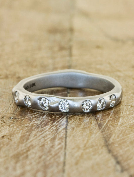 rustic textured 7 diamond wedding band - matte finish