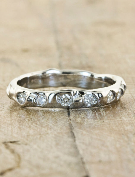rustic textured 7 diamond wedding band