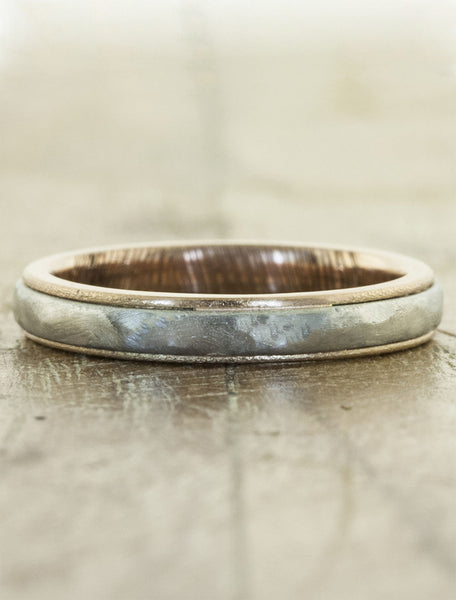 lightly hammered multi metal wedding band