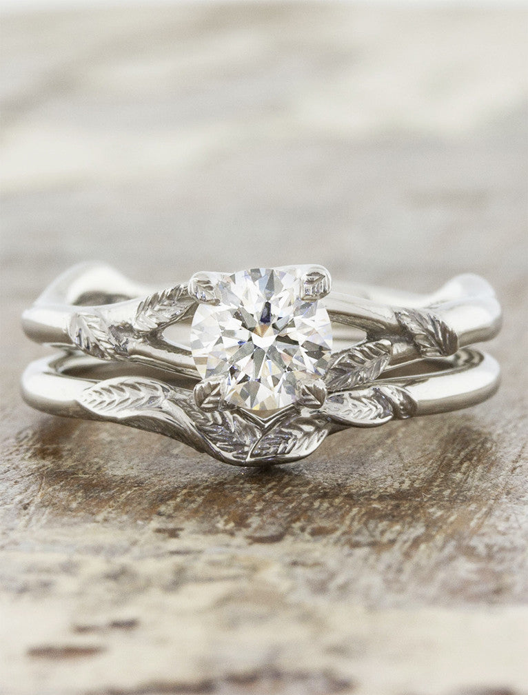 nature-inspired leaf wedding band & diamond solitaire engagement ring