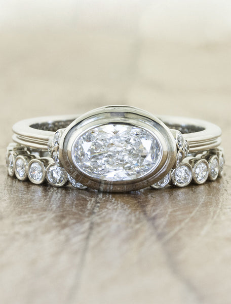 oval diamond ring with matching band