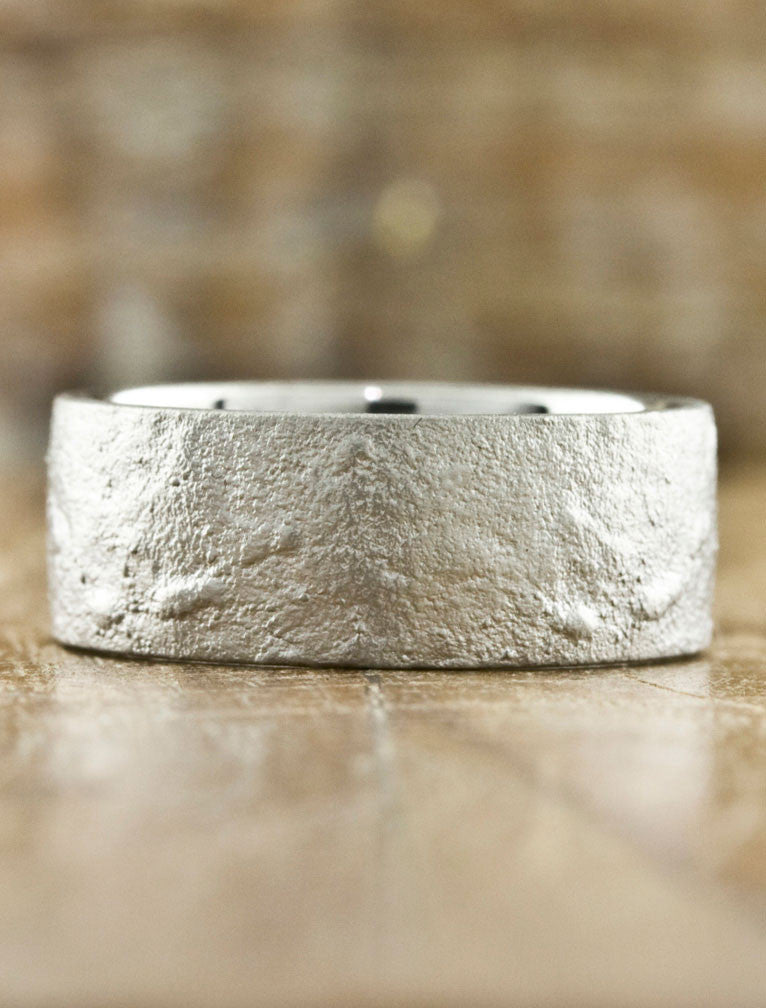 Textured Men's Wedding Bands by Ken & Dana Design - Jupiter white gold
