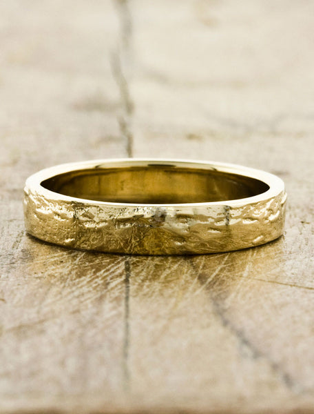 Hammered Men's Wedding Bands by Ken & Dana Design - Juupiter yellow gold