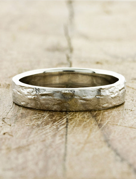 Hammered Men's Wedding Bands by Ken & Dana Design - Jupiter white gold