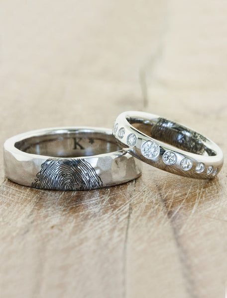 his & hers matching custom fingerprint wedding ring set. caption:Shown with custom Lili matching band