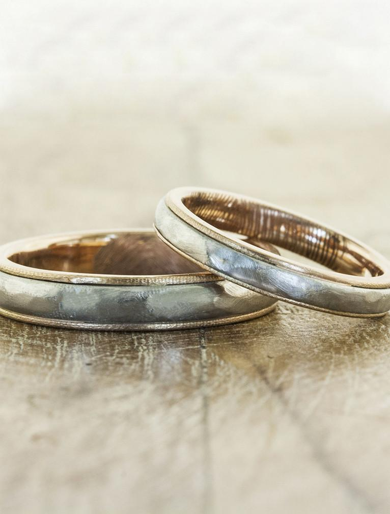 simple multi metal matching his & hers wedding bands - multi metal
