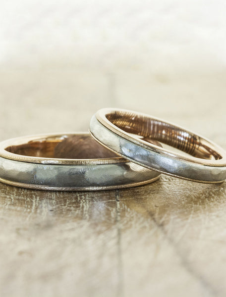 simple matching his & hers wedding bands - multi metal