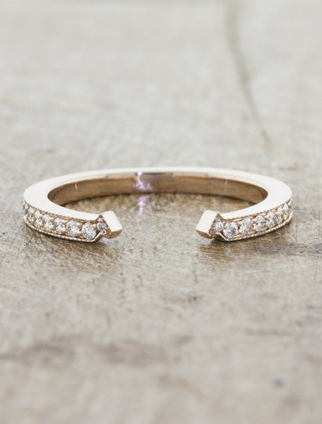 charli - diamond pave wedding band in yellow gold