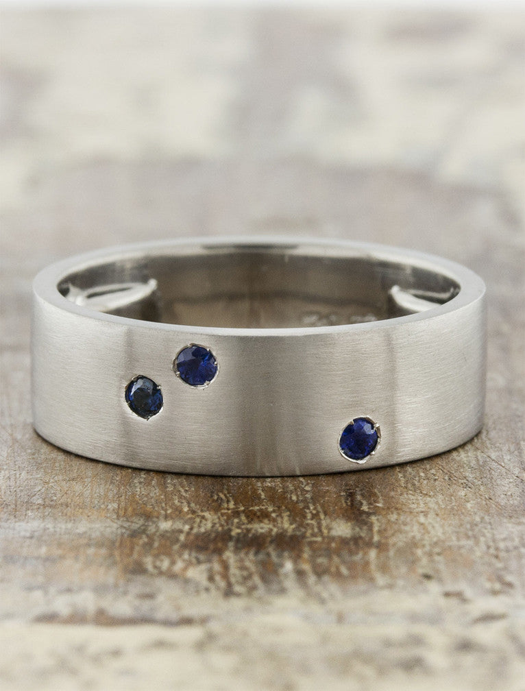 unique men's brushed metal wedding ring, gemstone accents
