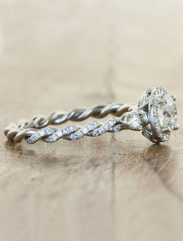 Keren Twisted Rope Band Diamond Engagement Ring Ken