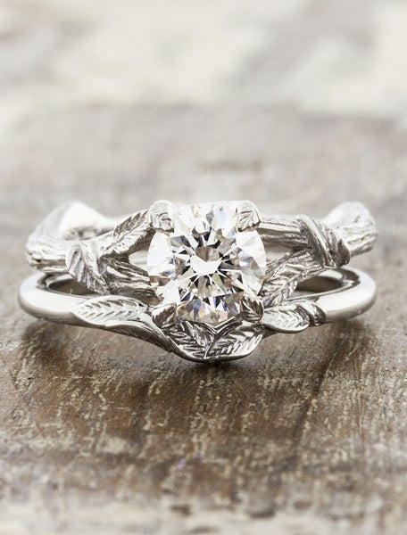 nature-inspired leaf wedding band & engagement ring