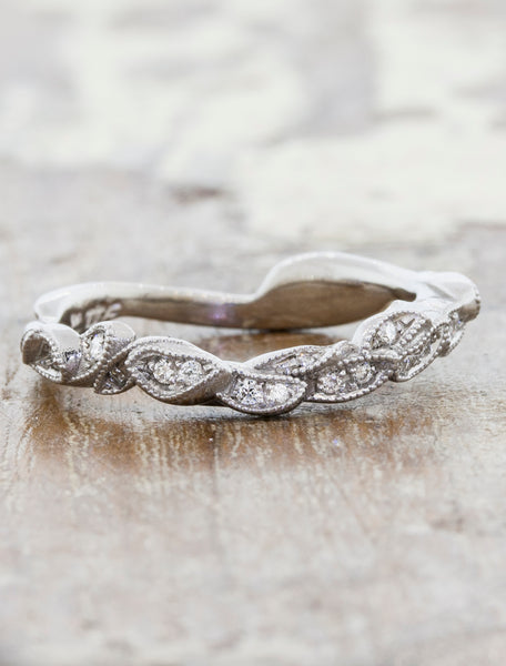 Contoured, Layered Leaf Design Wedding Ring caption: 18k White Gold