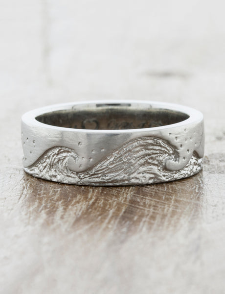 Custom Wave Wedding Ring caption: 6mm band Width on a Platinum Band