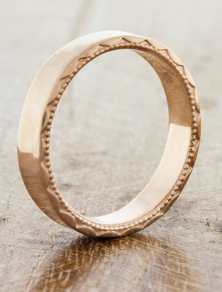 beaded textured wedding band - rose gold