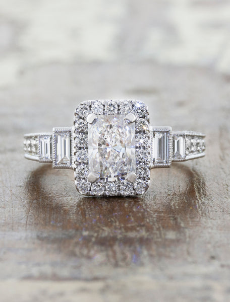 Vintage Inspired Radiant Diamond Halo Engagement Ring