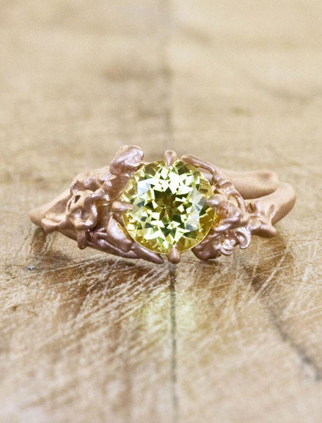1 carat yellow sapphire ring with rose gold