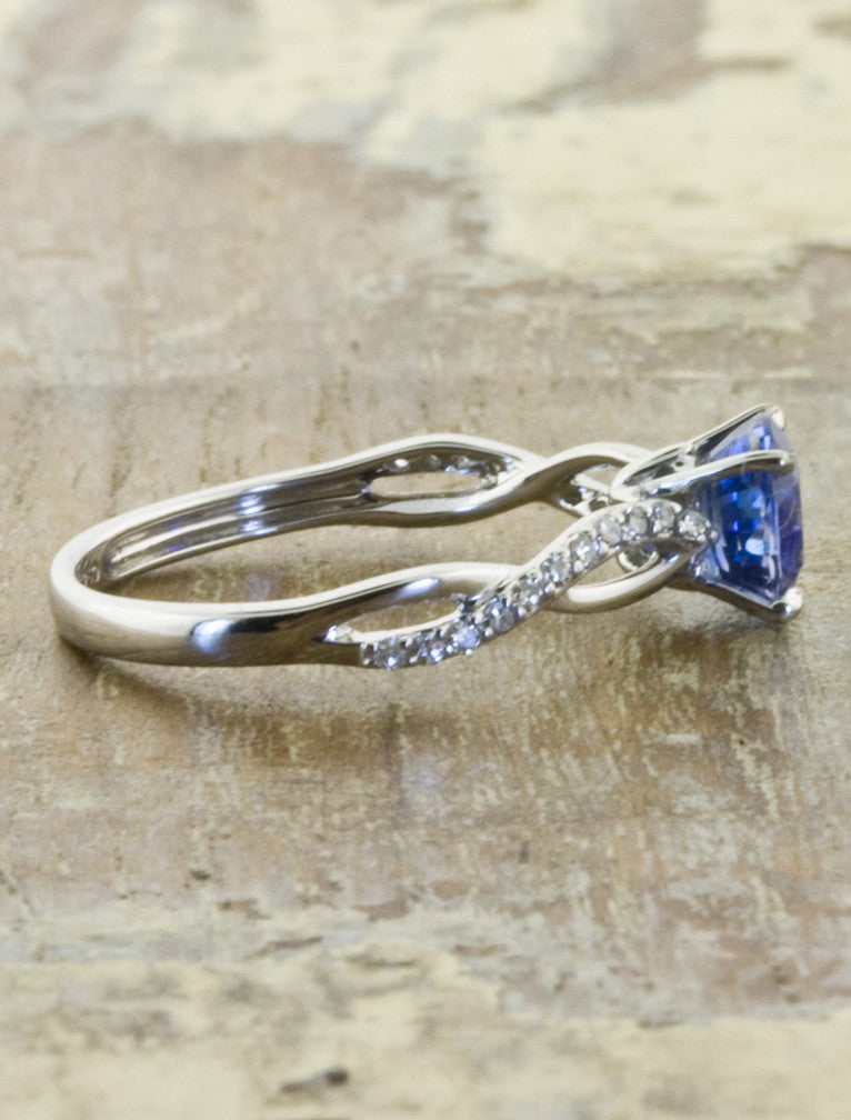 Twist band sapphire engagement ring