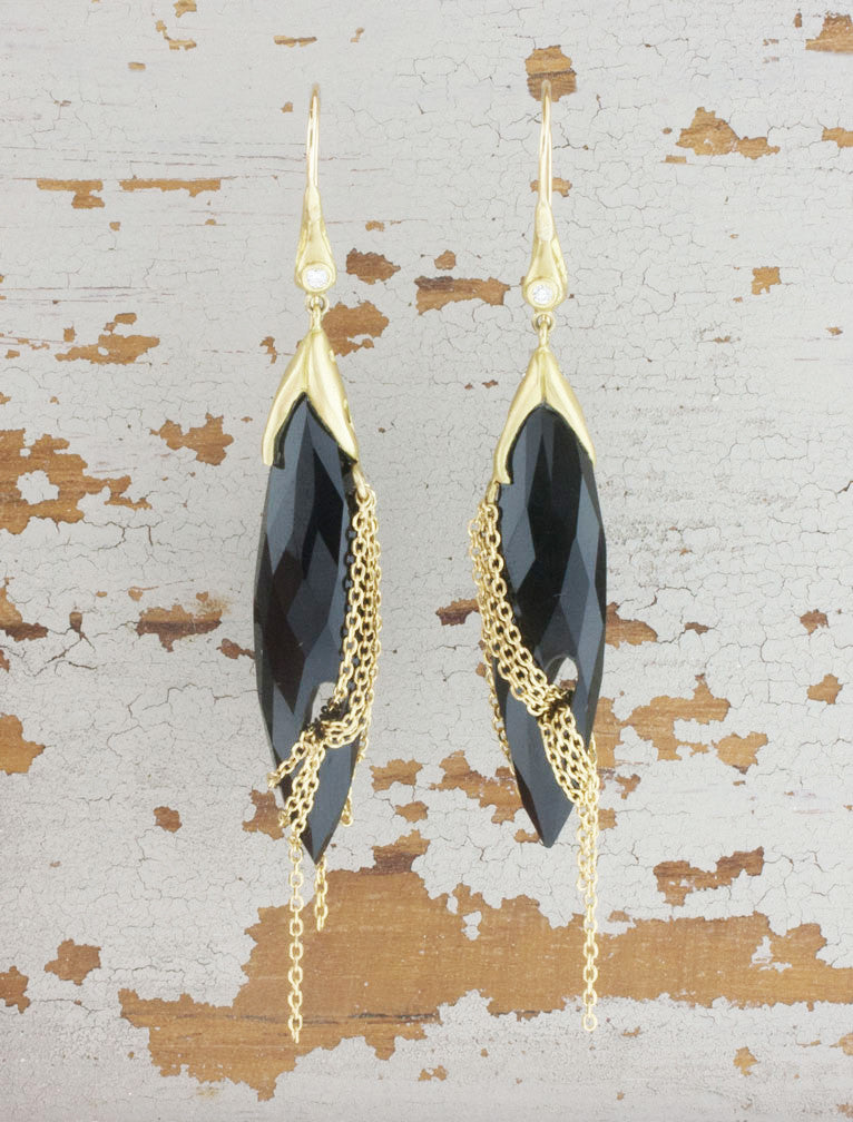 Black Onyx and Yellow Gold Earrings
