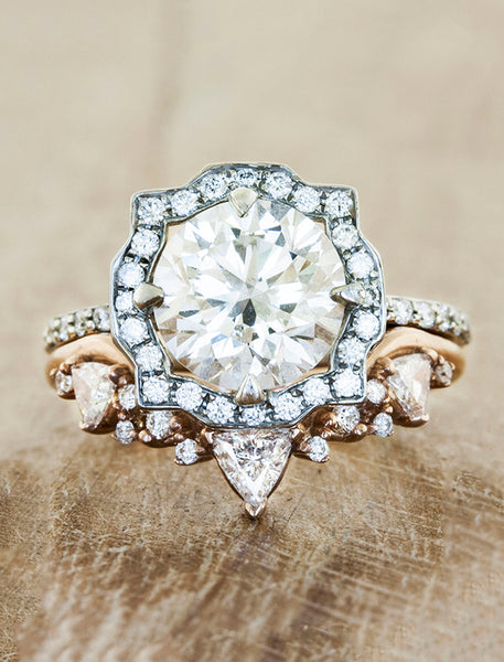 intricate wedding ring with trillion diamonds - with paired engagement ring