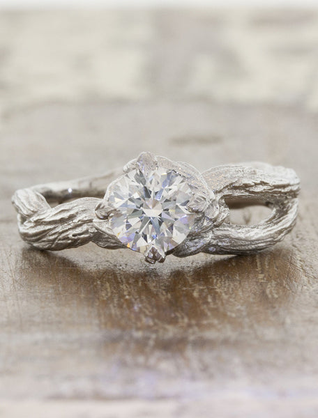 Nature Inspired Split Band Engagement Ring