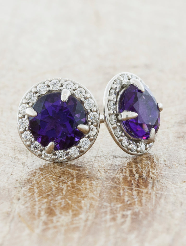 Halo Amethyst Halo Earrings caption:5mm Round Amethyst in 14k White Gold