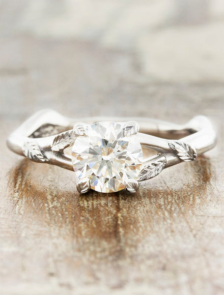 leaf prong organic shaped diamond engagement ring