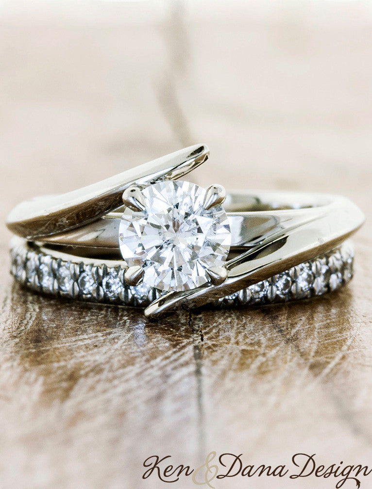 Unique Custom Engagement Rings by Ken & Dana Design - Kylie. caption:Shown with our Bella 2mm wedding band.