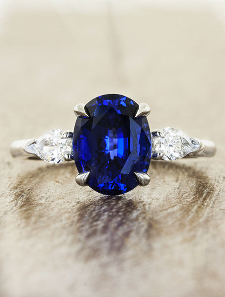 oval sapphire three stone engagement ring, pear side diamonds