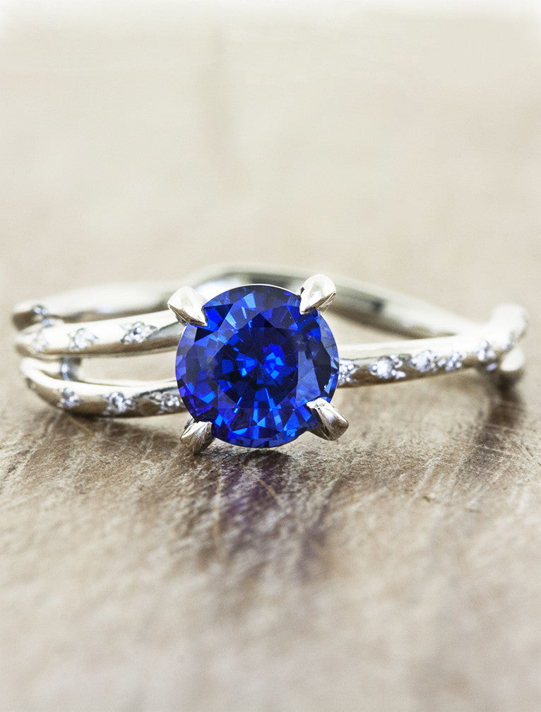 sculptural split shank round sapphire engagement ring, diamond accents