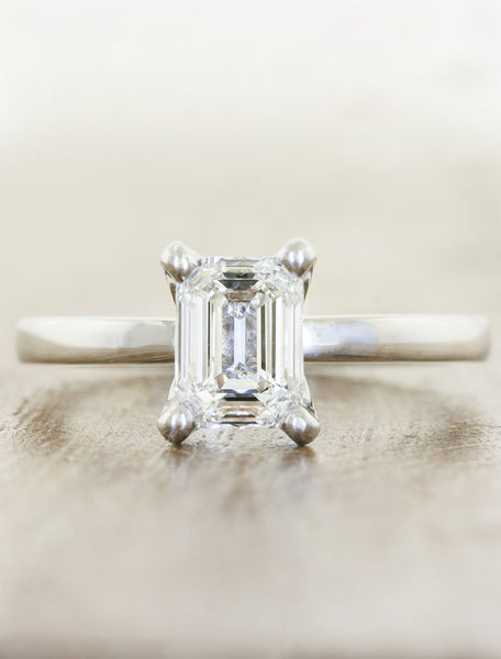 Classic solitaire - Ariya caption:Customized with an 0.75ct. Emerald Cut Diamond Platinum