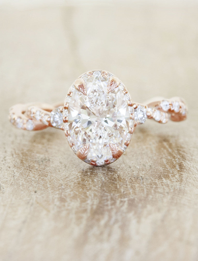 oval vintage inspired diamond ring, twisted band;caption:2.00ct. Oval Diamond 14k Rose Gold