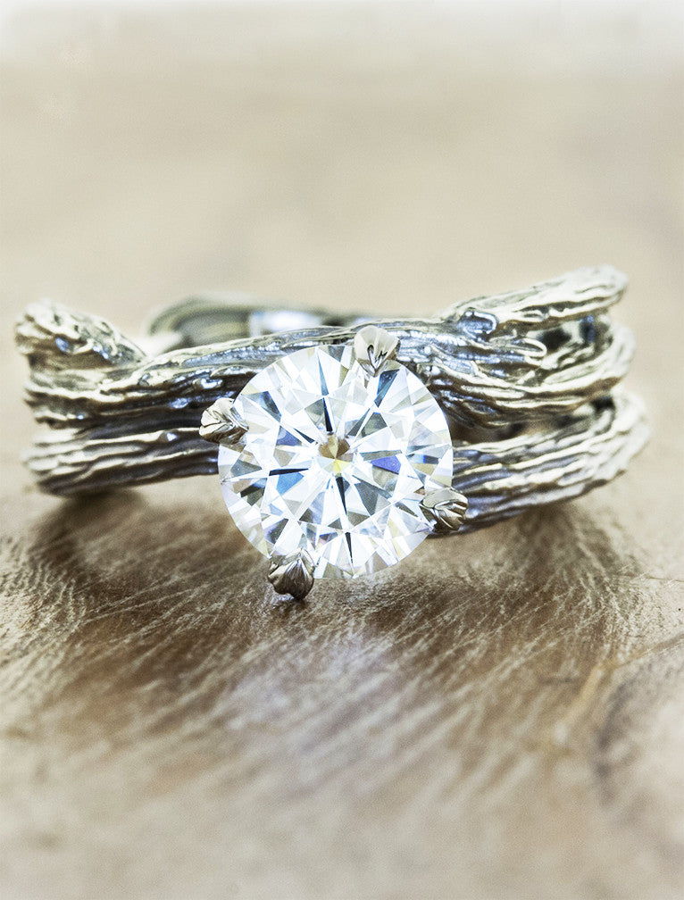 Nature inspired engagement ring - Laurel caption:1.25ct. Round Diamond Platinum paired with Willow wedding band