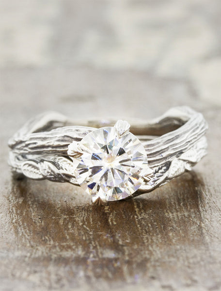 contoured, layered leaf design weding ring - paired with engagement ring