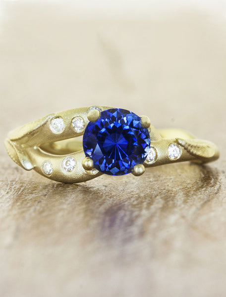 unique split shank asymmetric band sapphire engagement ring