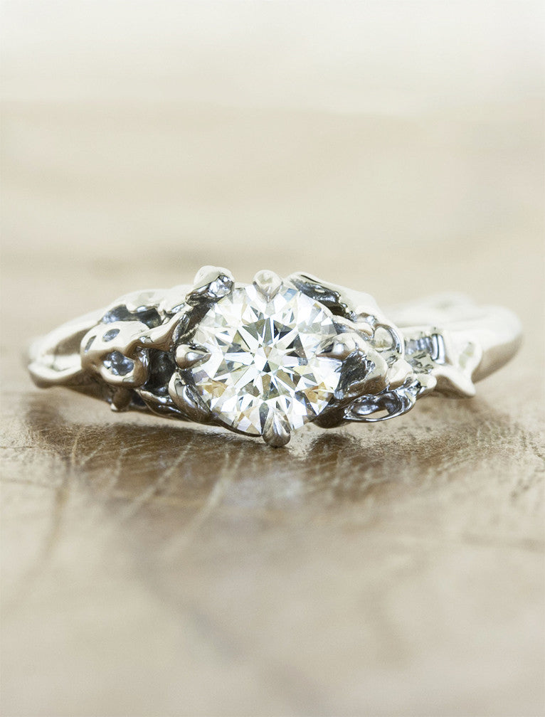 devi rose floral diamond engagement ring ken dana design - Nature Inspired Wedding Rings
