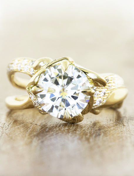 2 ct nature inspired split shank diamond engagement ring, pave set diamond band - yellow gold