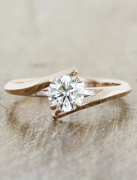 Unique modern engagement ring;caption:0.70ct. Round Diamond 14k Rose Gold