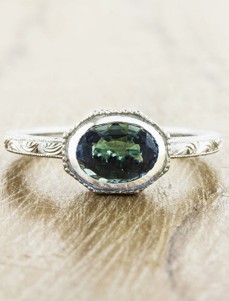 vintage inspired oval blue/green sapphire engagement ring