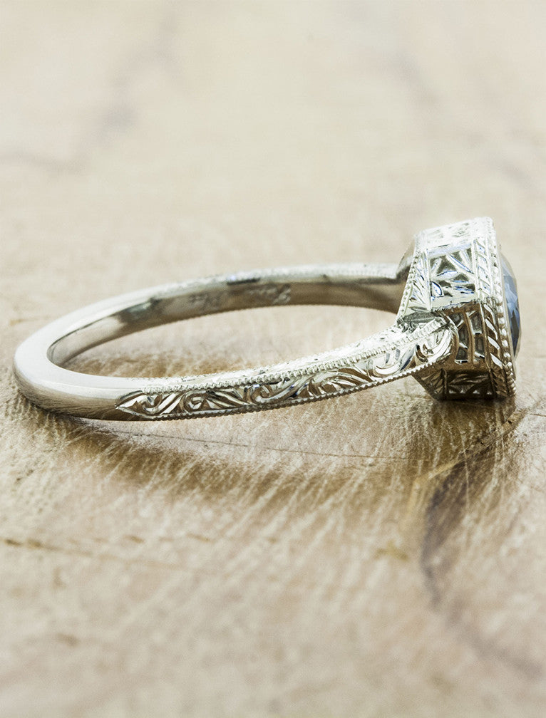 intricate vintage-inspired band, blue/green sapphire engagement ring