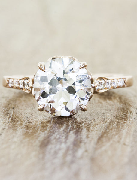 european cut round diamond, rose gold engagement ring