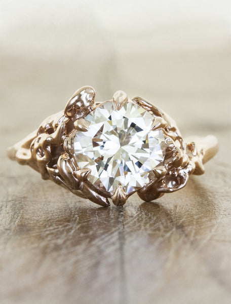 rose inspired engagement ring in yellow gold caption:2.00ct. Round Diamond 14k Rose Gold