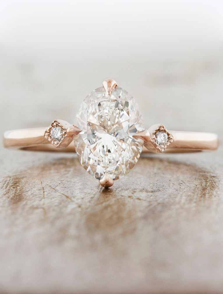 Oval Diamond Ring in Rose Gold;caption:Shown with 1.15ct. Oval Diamond 14k Rose Gold