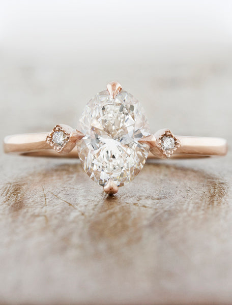 Oval Diamond Ring in Rose Gold;caption:1.15ct. Oval Diamond 14k Rose Gold