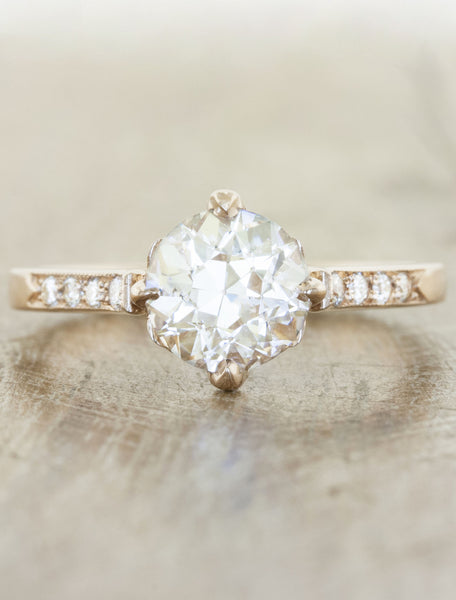 Vintage inspired collection caption:1.00ct. Round Diamond 14k Rose Gold