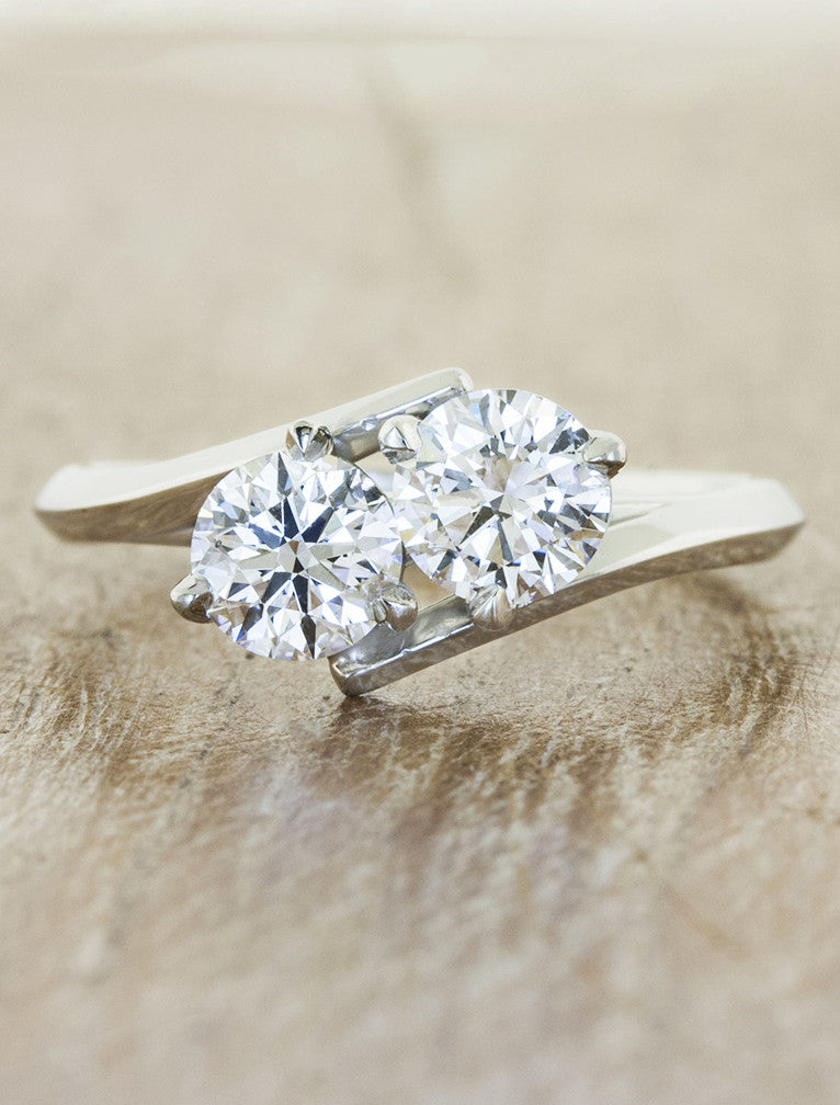 two stone diamond engagement ring, asymmetrical band. caption:Shown with two 0.6ct diamonds