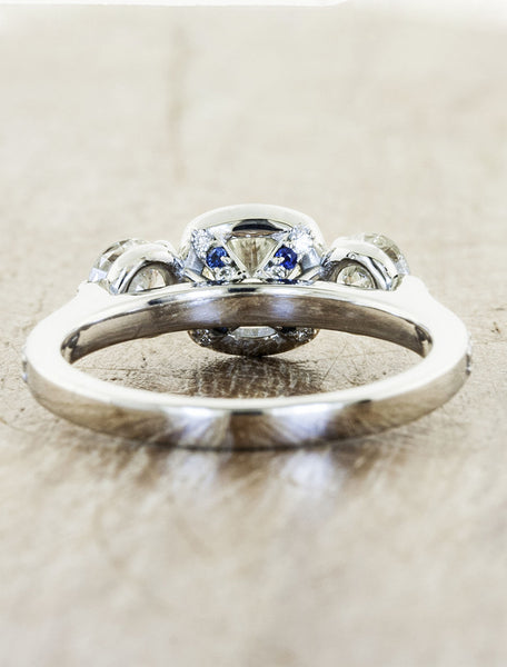 three stone diamond engagement ring, halo - antique inspired
